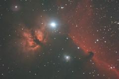 Barnard 33, Horsehead Nebulae (lower right) and NGC 2024, Flame Nebula (left)