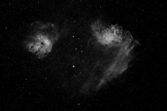 IC405 (left), Flaming Star Nebula and IC410 (right), Tadpole Nebula, Feb, 2009
