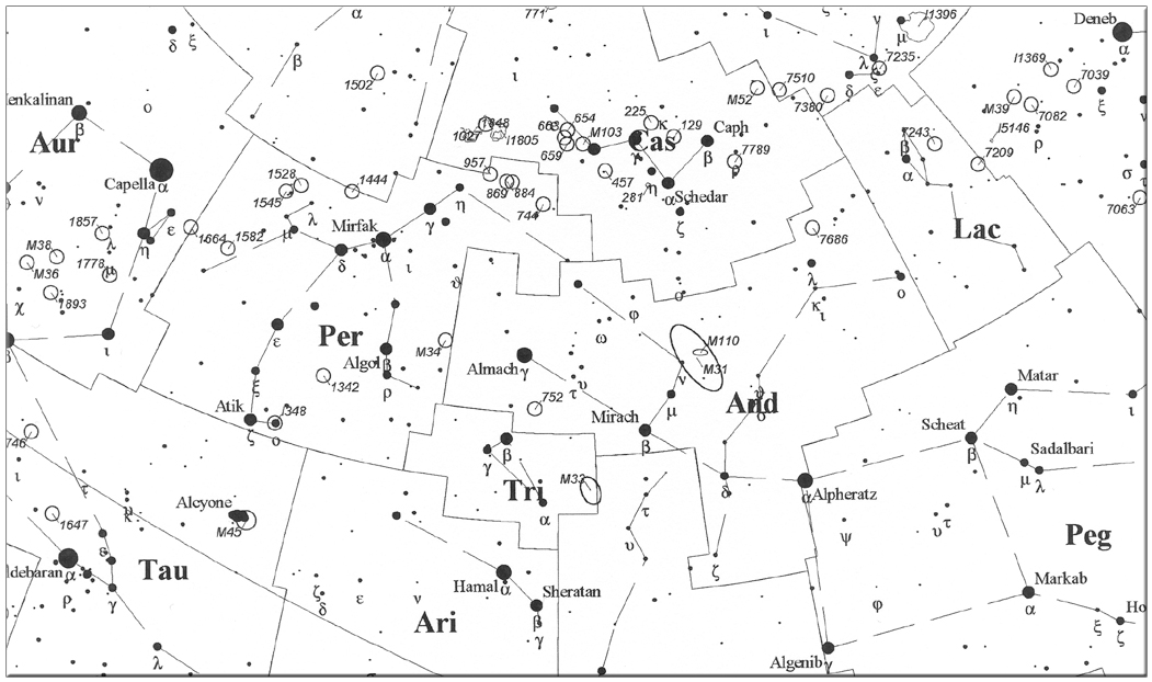 Perseus and Andromeda constellation map
