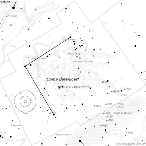 Constellation map of Come Bernices