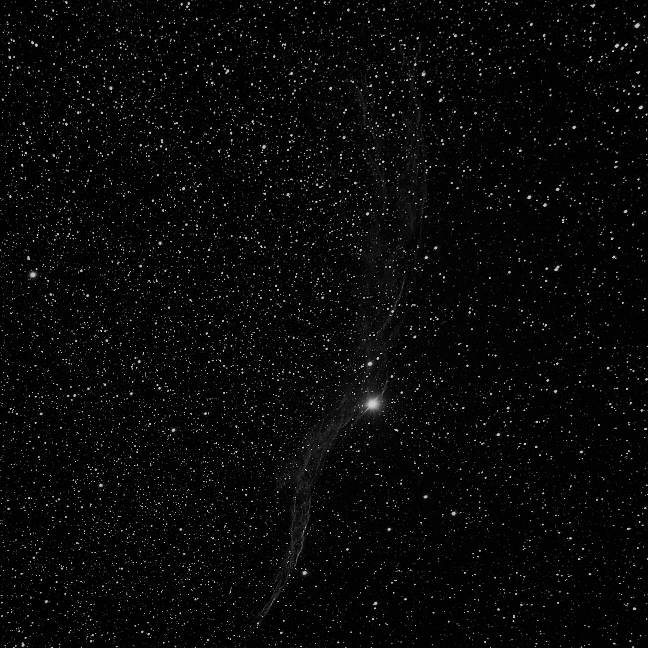 Western Veil Nebula in monochrome