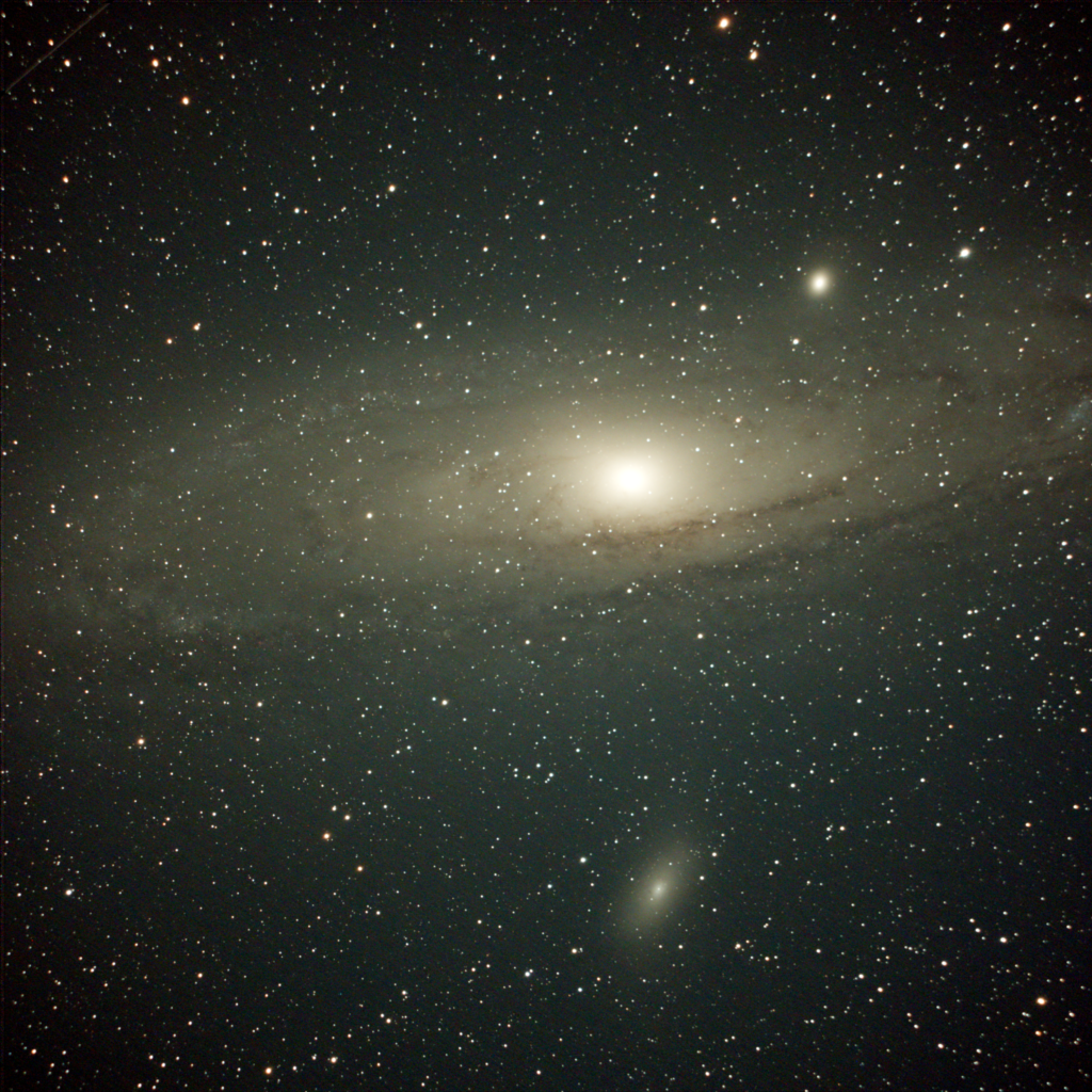 Andromeda Galaxy, M31, and M32 in the upper right and M101 in the lower right